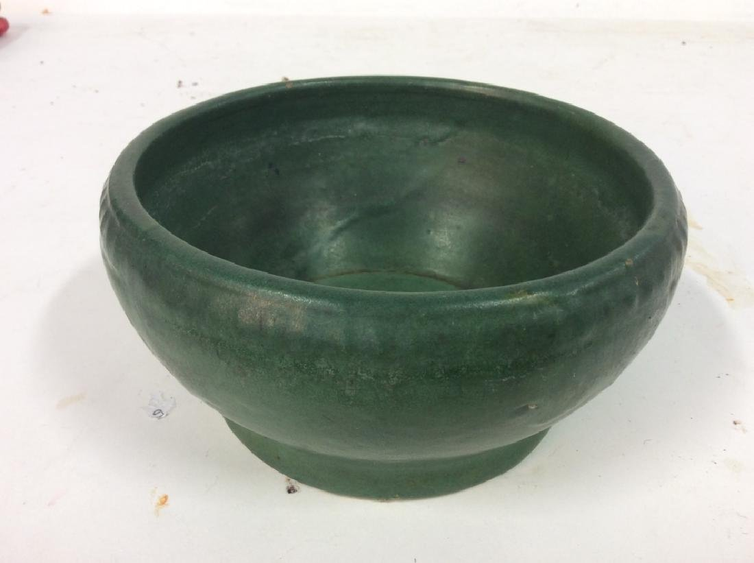 Hand Made Green Vintage Pottery Vessel - 3