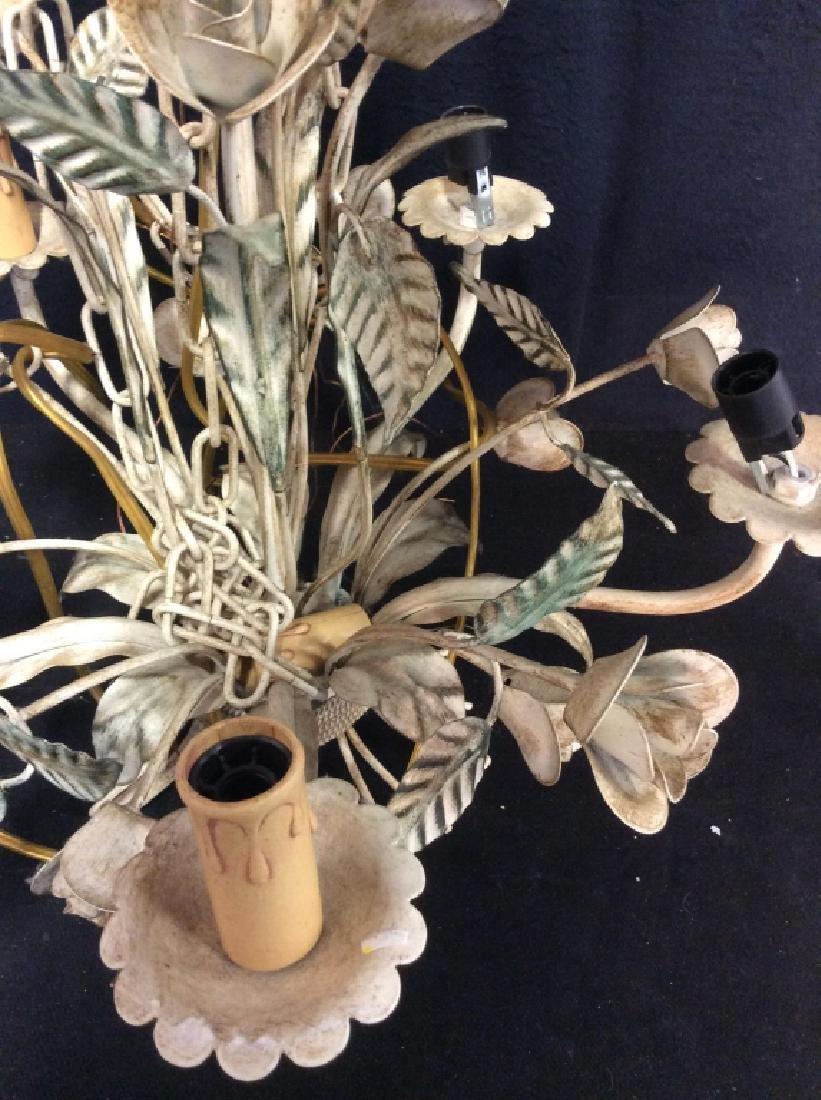 Vintage White Metal Tole Floral Chandelier - 4