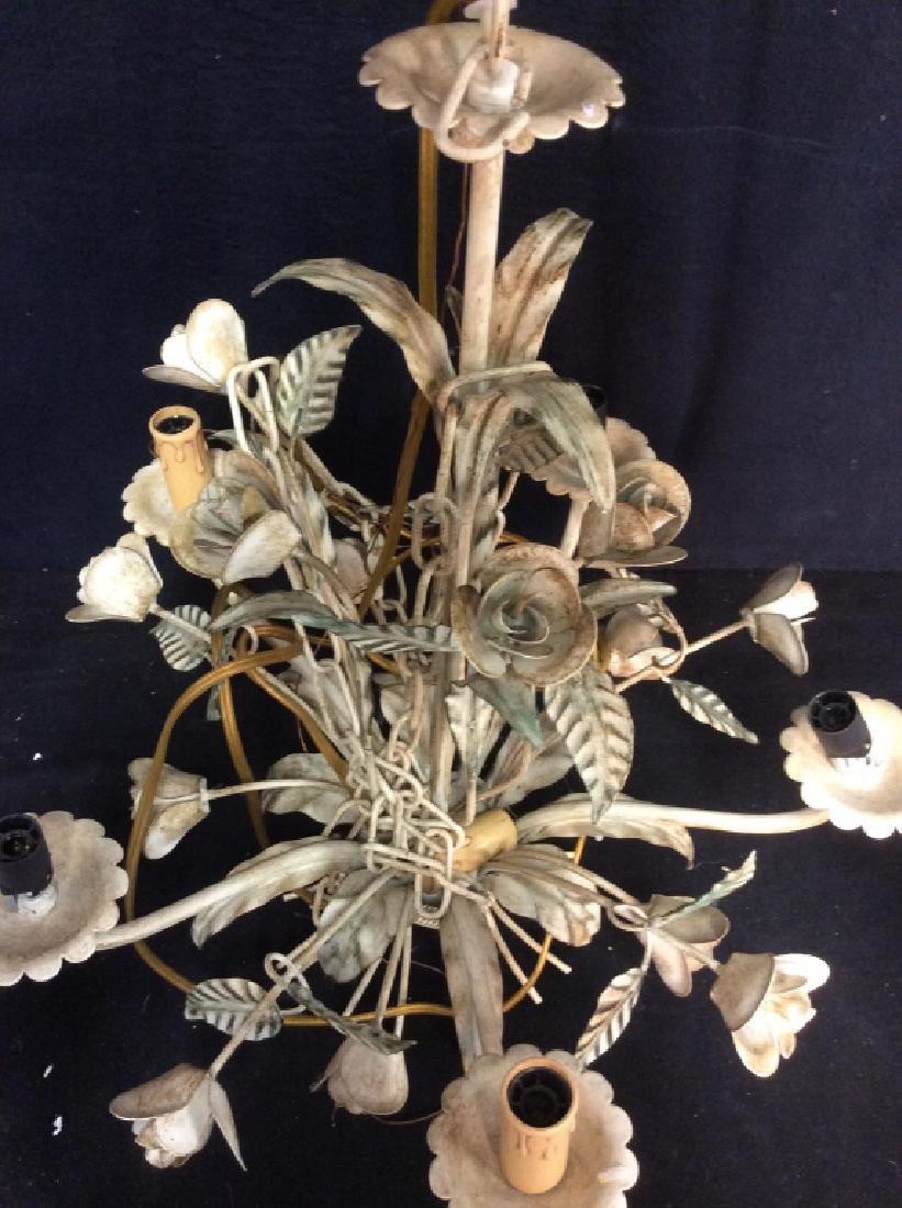 Vintage White Metal Tole Floral Chandelier - 5