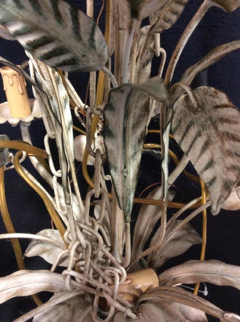 Vintage White Metal Tole Floral Chandelier - 6
