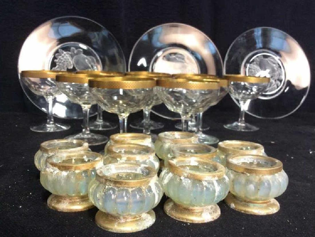 Group Lot Crystal Stemware, Candlesticks, Plates