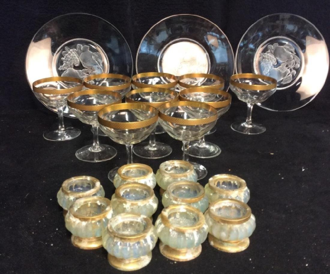 Group Lot Crystal Stemware, Candlesticks, Plates - 2