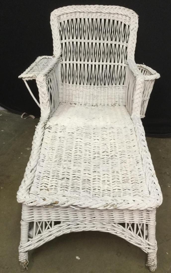 Vintage White Wicker Lounge Chair