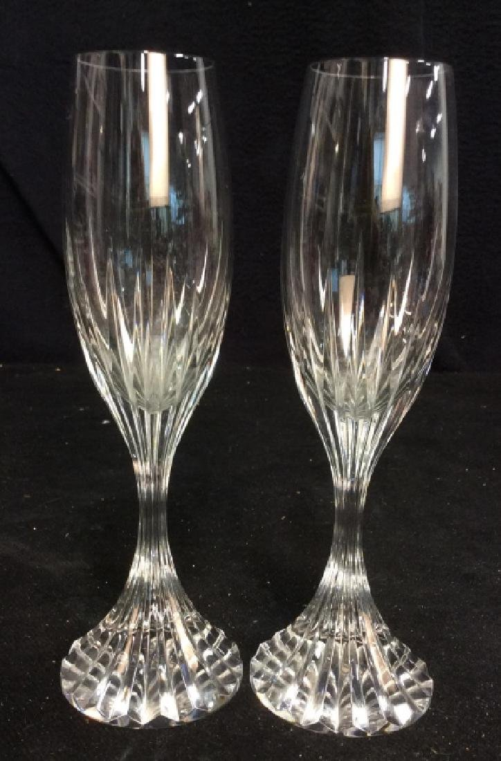 Pair Baccarat Heavy Cut Crystal Champagne Flutes