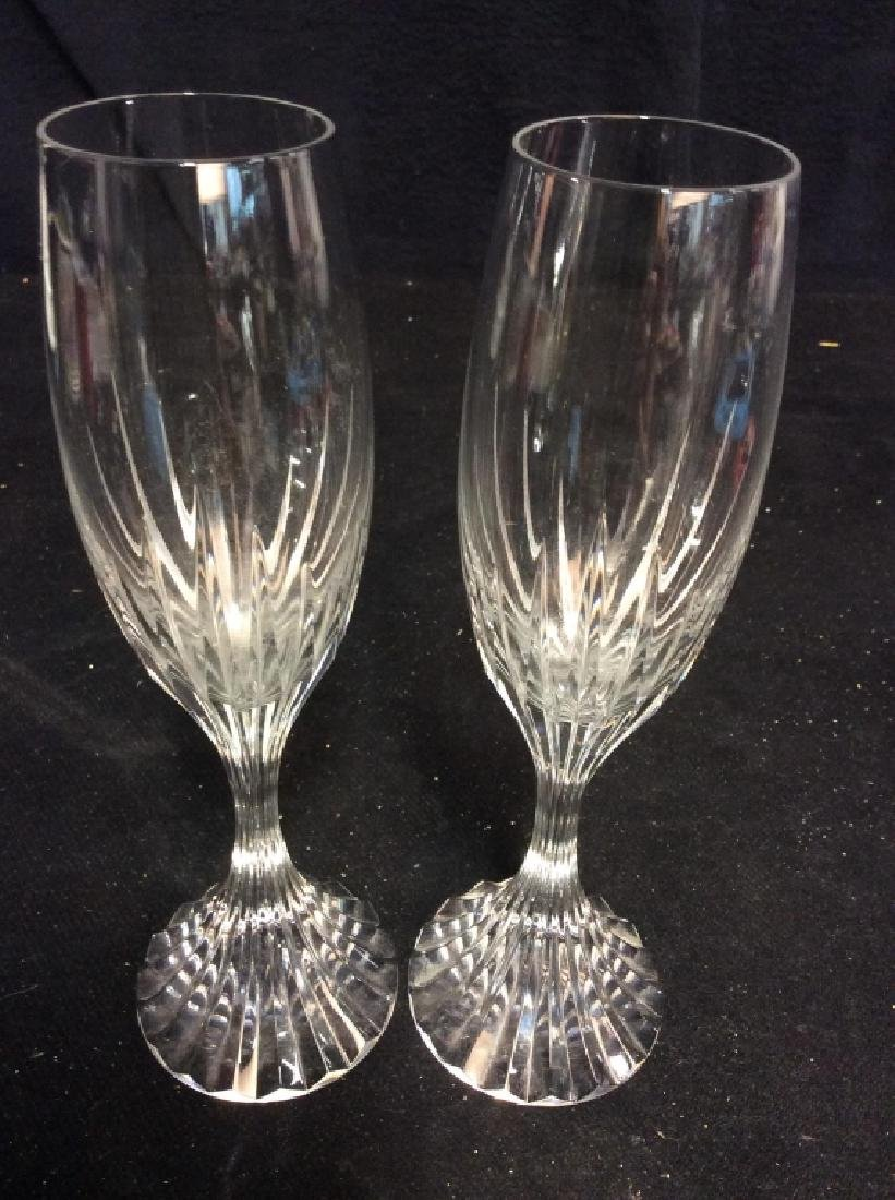 Pair Baccarat Heavy Cut Crystal Champagne Flutes - 2
