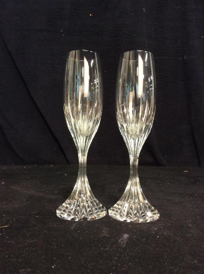 Pair Baccarat Heavy Cut Crystal Champagne Flutes - 3