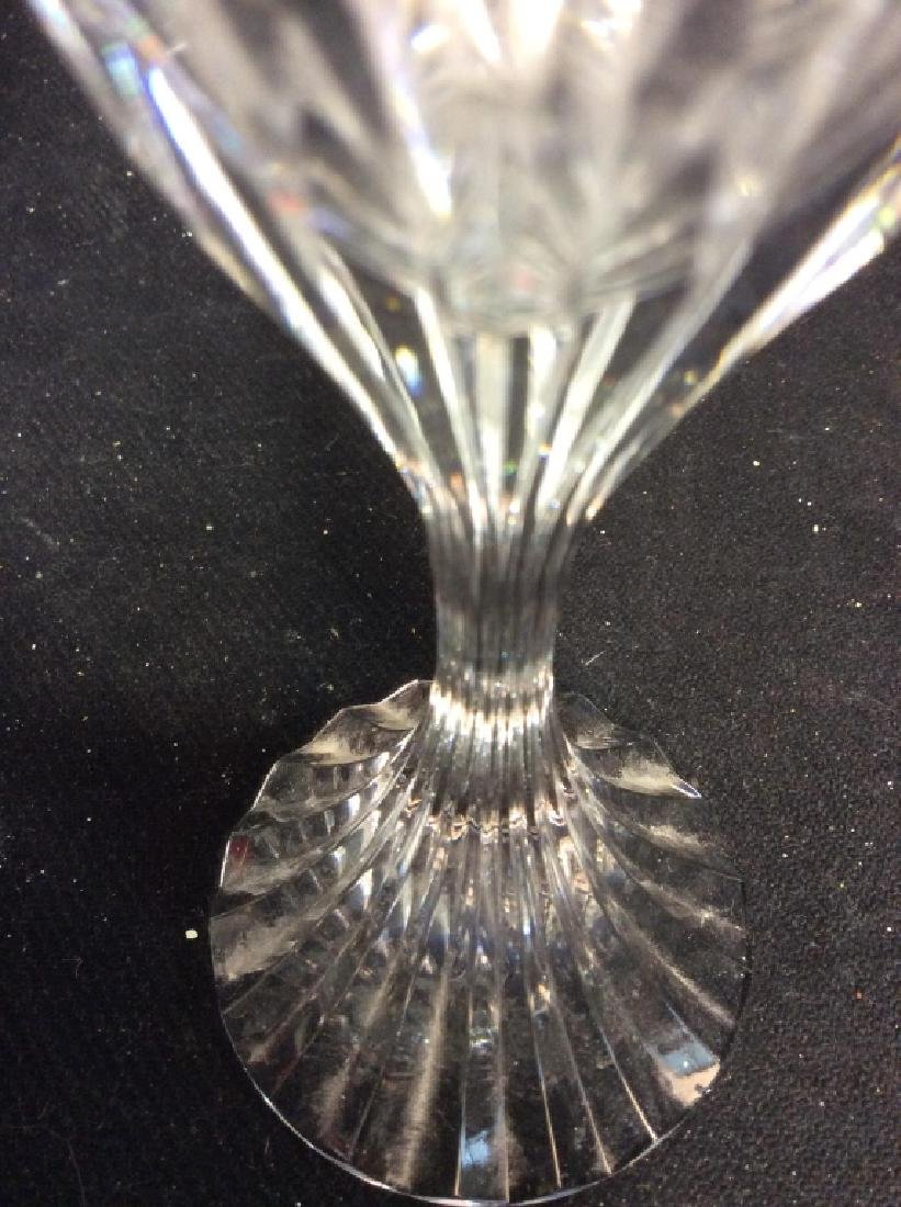 Pair Baccarat Heavy Cut Crystal Champagne Flutes - 4