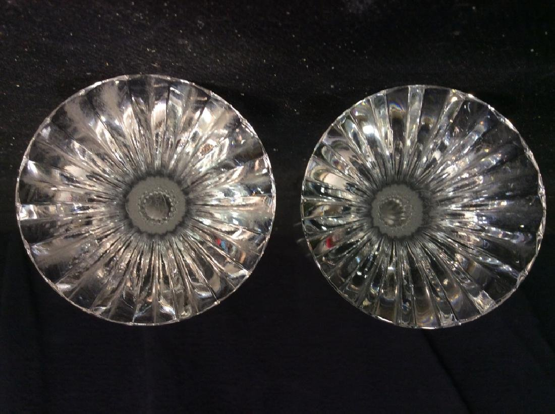 Pair Baccarat Heavy Cut Crystal Champagne Flutes - 7
