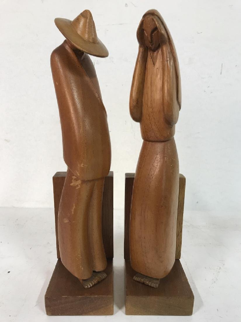 Lot 2 Carved Wooden Figural Bookends