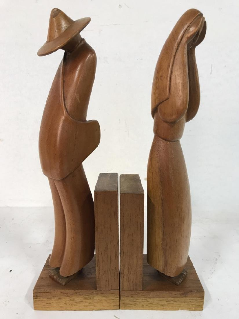 Lot 2 Carved Wooden Figural Bookends - 2