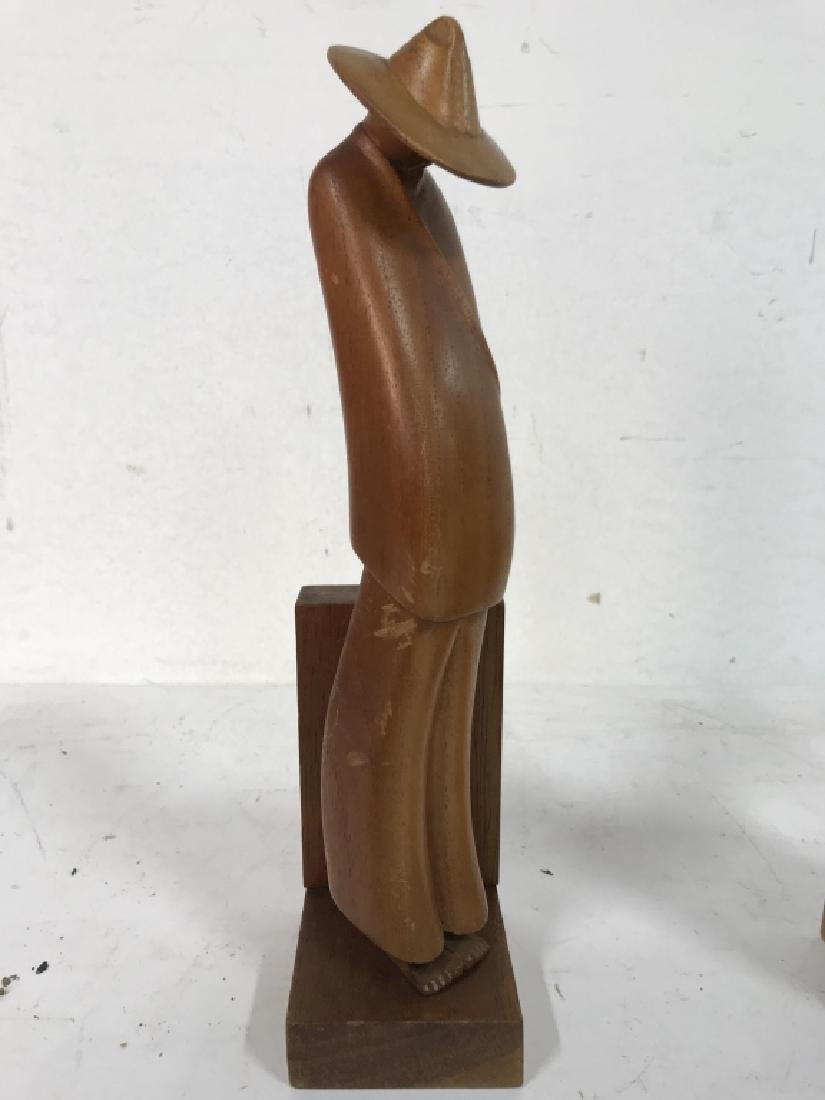 Lot 2 Carved Wooden Figural Bookends - 4