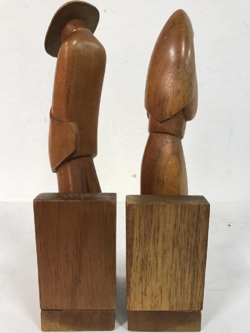 Lot 2 Carved Wooden Figural Bookends - 7