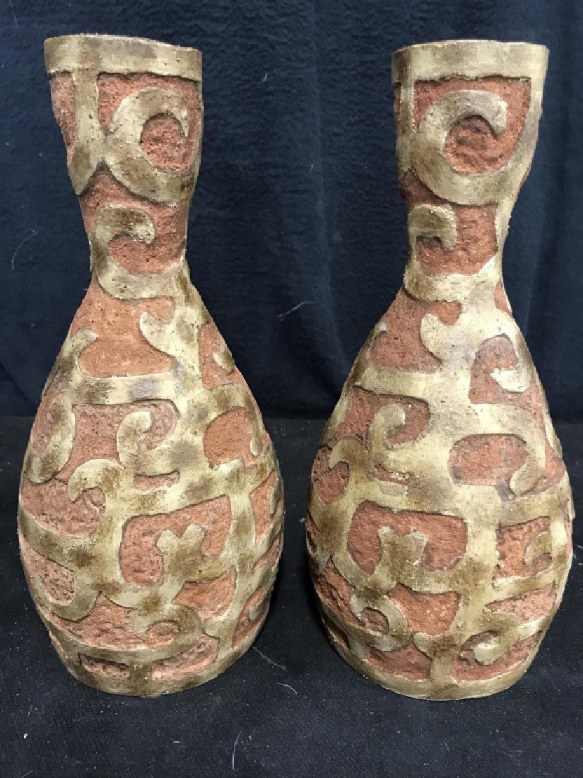 Pair Mayan Style Vases