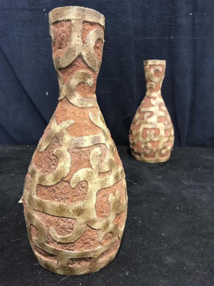 Pair Mayan Style Vases - 3