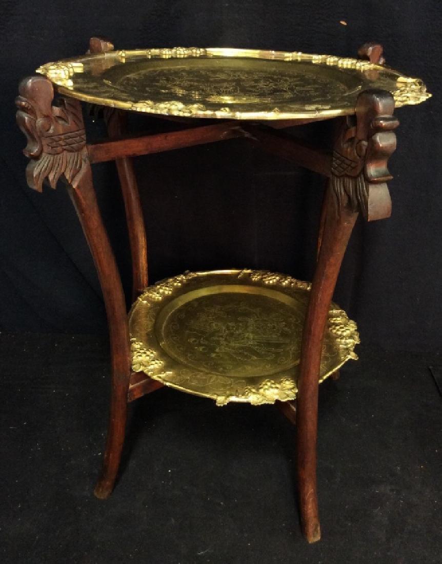 Antique Asian Double Brass Tray Tea Table,