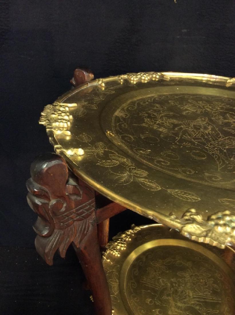 Antique Asian Double Brass Tray Tea Table, - 2