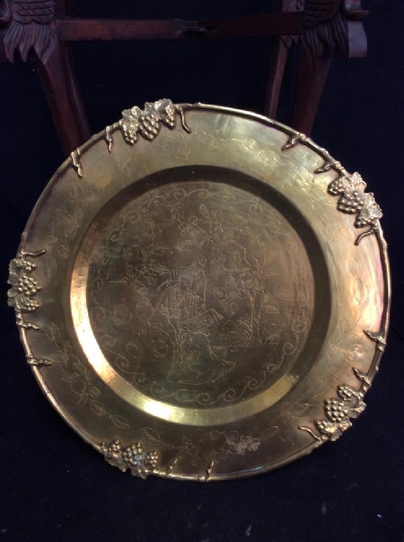 Antique Asian Double Brass Tray Tea Table, - 7