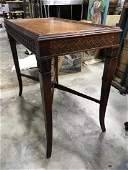 Vintage Carved Wooden Leather Top Side Table