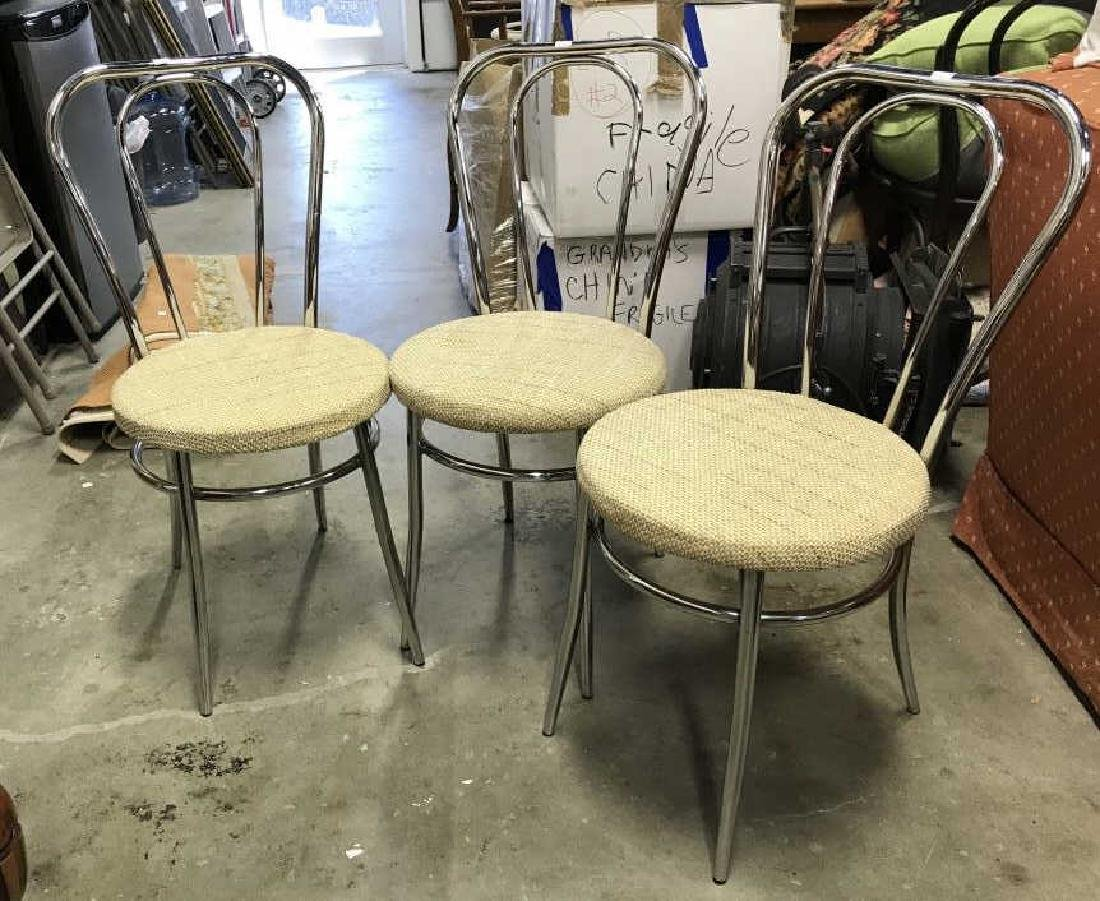 Set 3 Retro Chrome Side chairs - 3