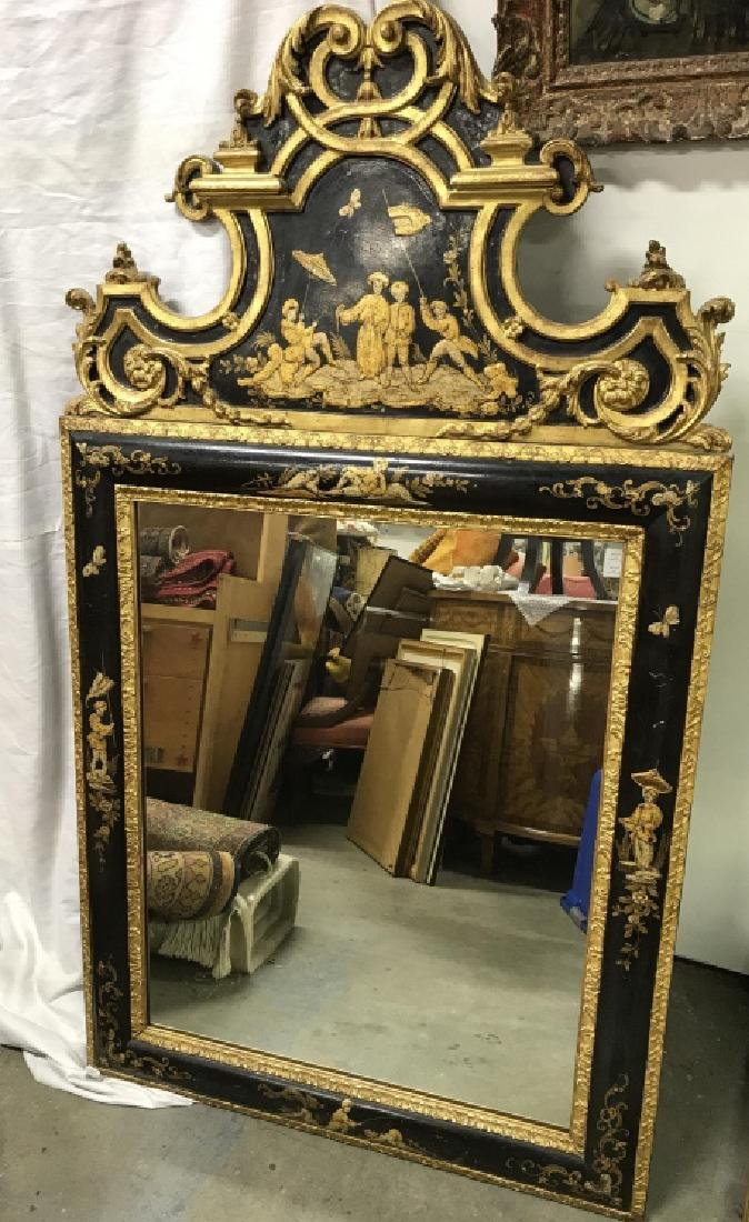 Richly Detailed Chinoiserie Carved Painted Mirror
