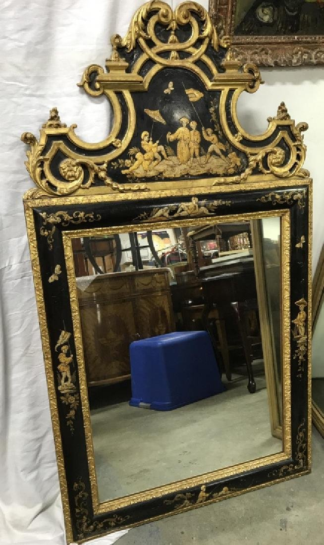 Richly Detailed Chinoiserie Carved Painted Mirror - 3