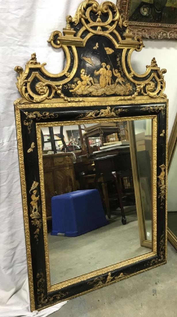 Richly Detailed Chinoiserie Carved Painted Mirror - 4