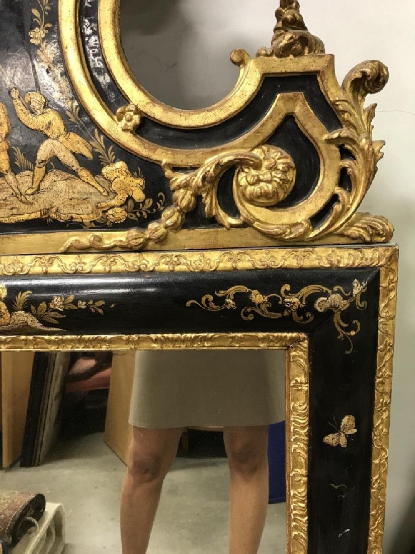 Richly Detailed Chinoiserie Carved Painted Mirror - 8