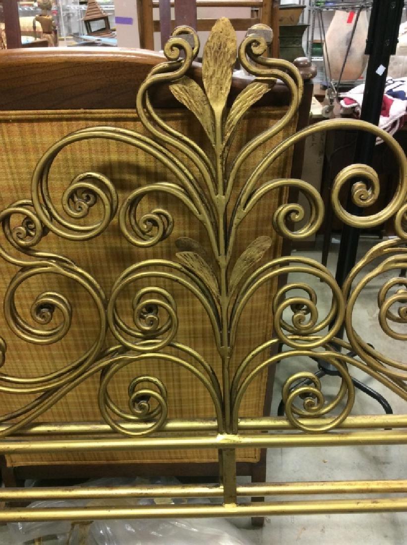 Lot 2 Gold Toned Iron Headboard & Footboard, Italy - 3