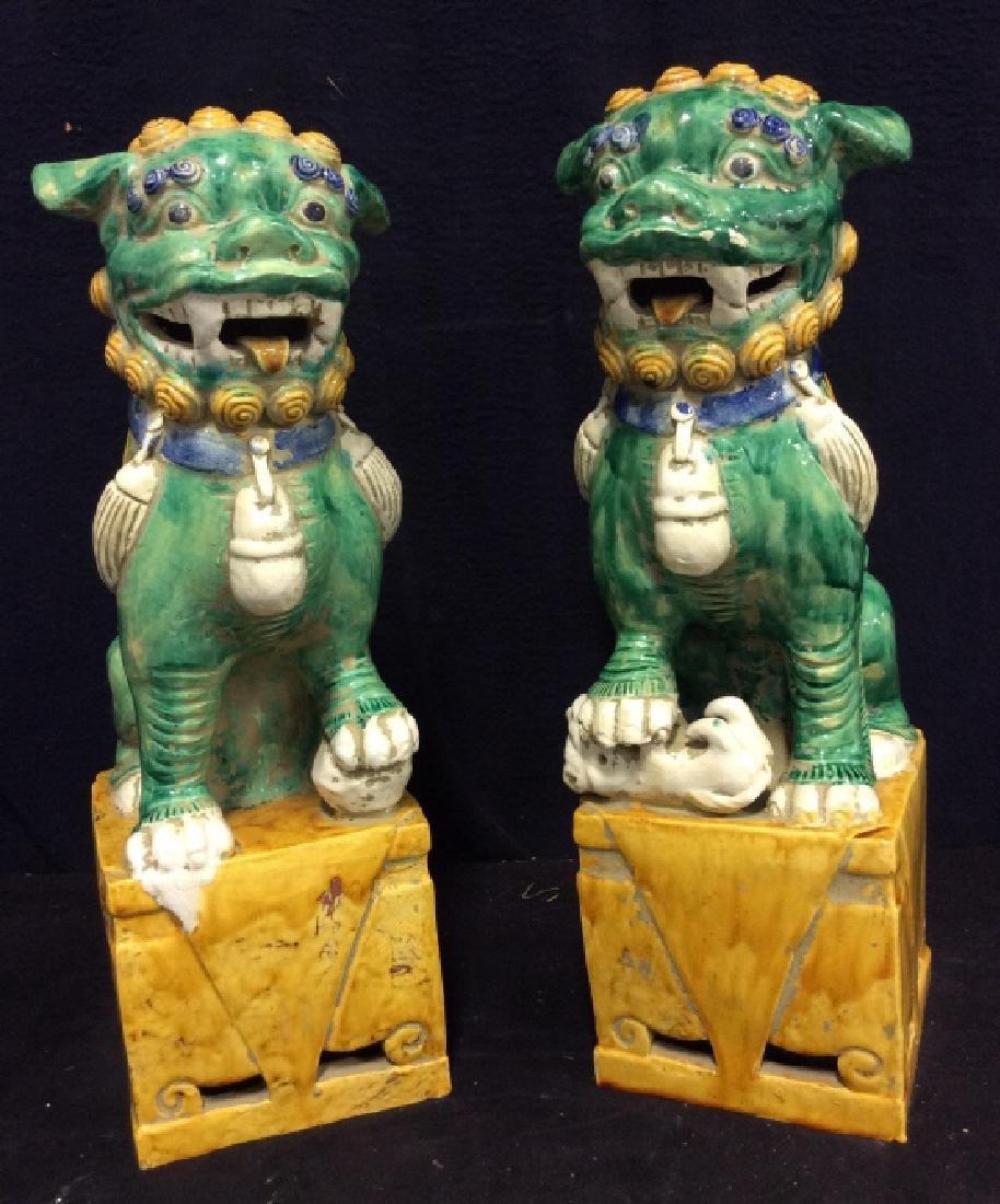 Pair Vintage/Antique Pair Asian Ceramic Foo Dogs
