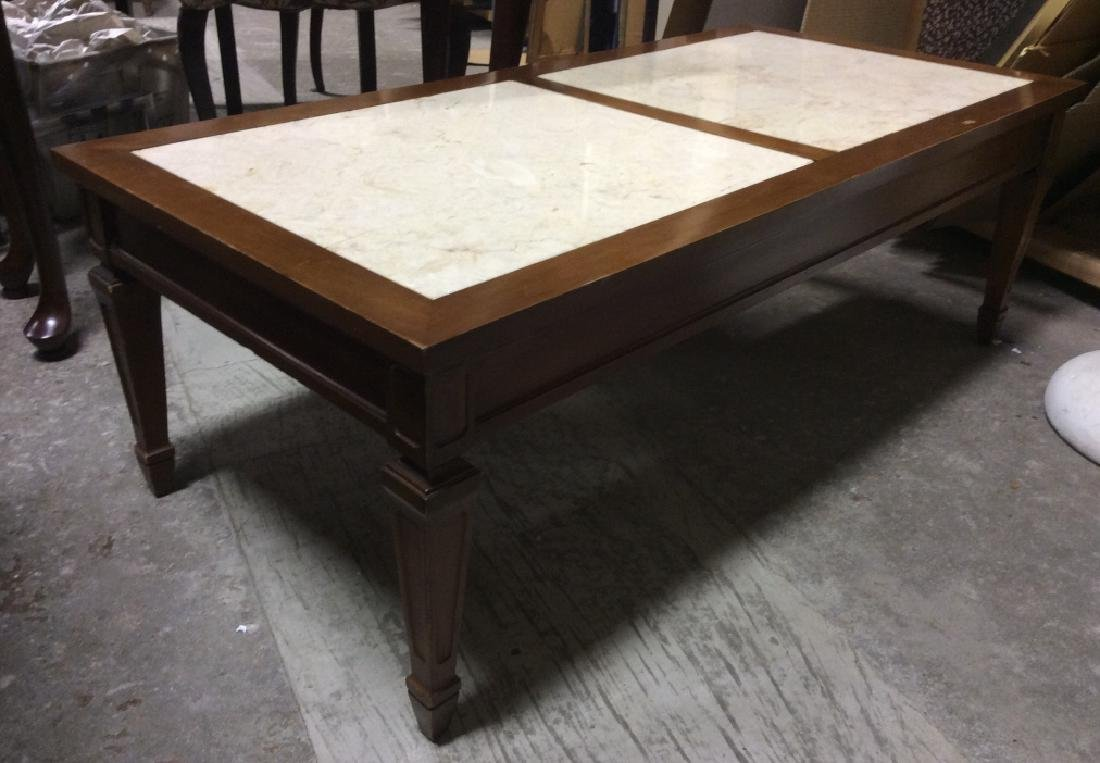 Vintage Wooden Coffee Table W Marble Inserts