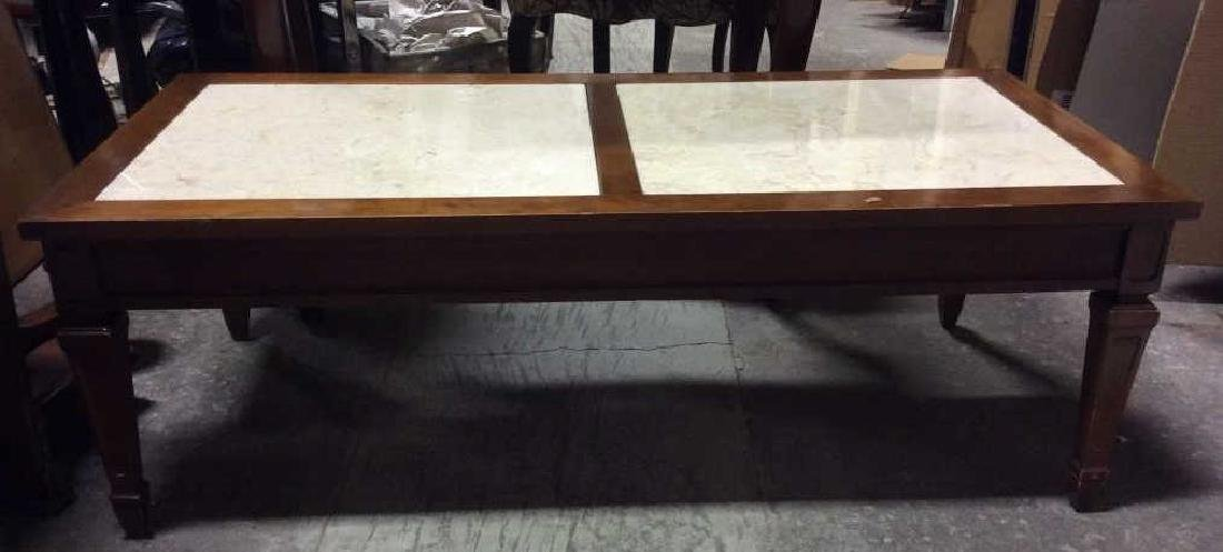 Vintage Wooden Coffee Table W Marble Inserts - 2