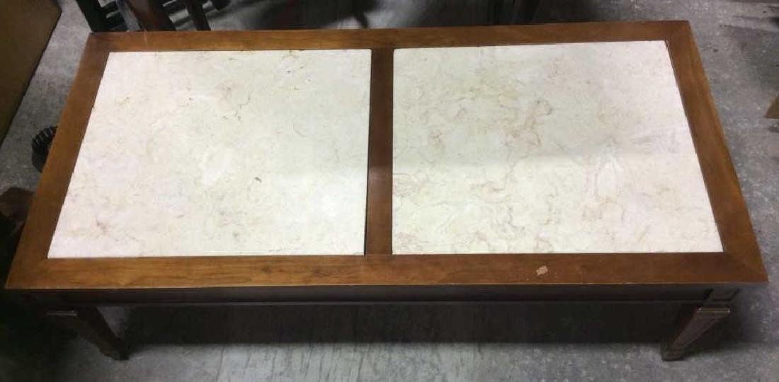 Vintage Wooden Coffee Table W Marble Inserts - 3