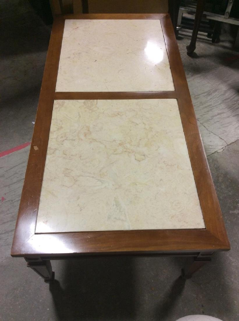 Vintage Wooden Coffee Table W Marble Inserts - 4