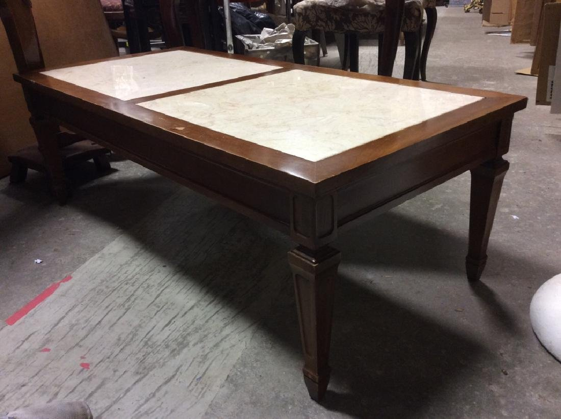 Vintage Wooden Coffee Table W Marble Inserts - 5
