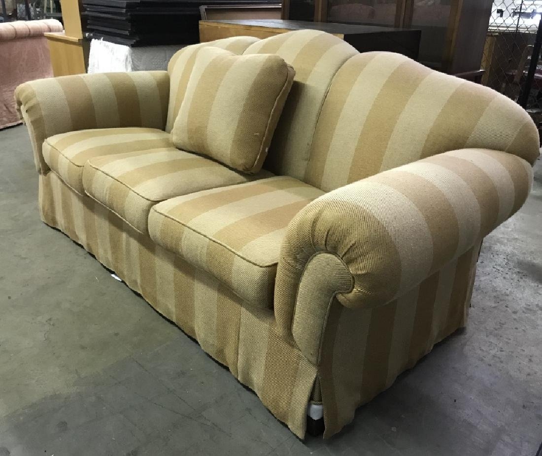 Striped Upholstered Plump Couch Sofa