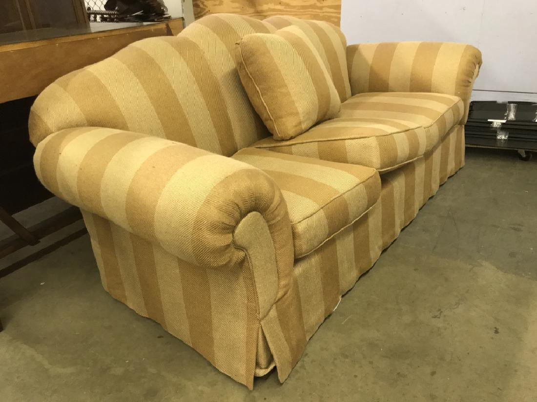 Striped Upholstered Plump Couch Sofa - 2