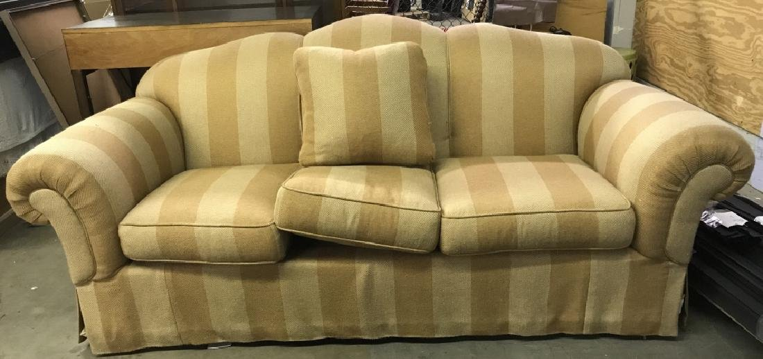 Striped Upholstered Plump Couch Sofa - 3