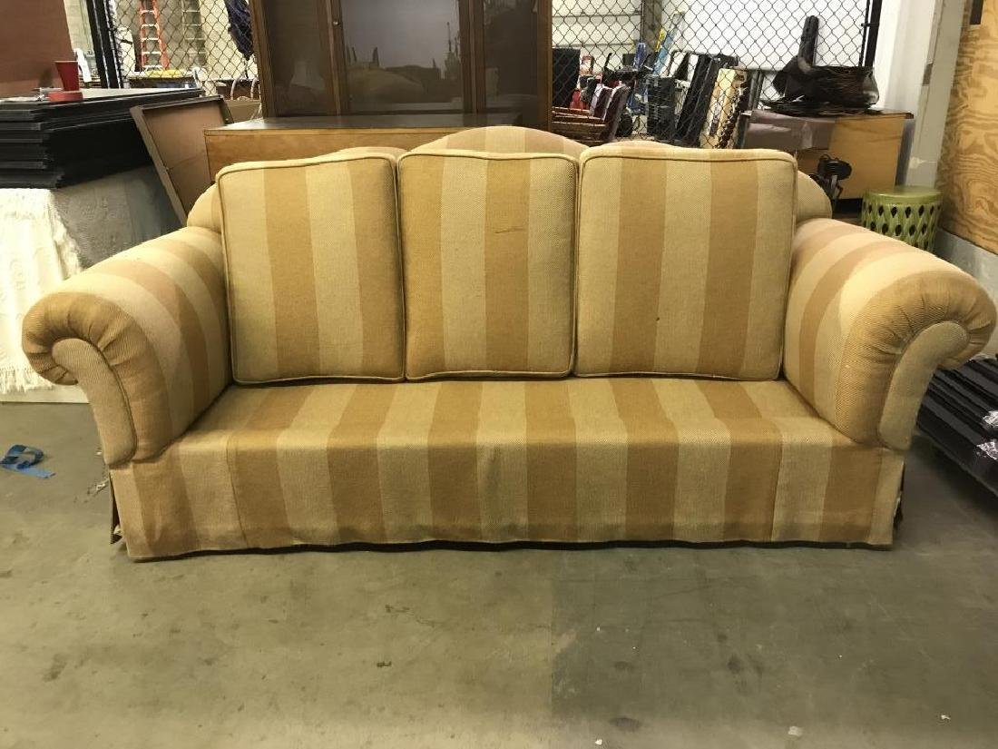Striped Upholstered Plump Couch Sofa - 8