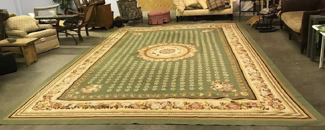 French Aubusson Hand Woven Carpet Room Size Rug - 2