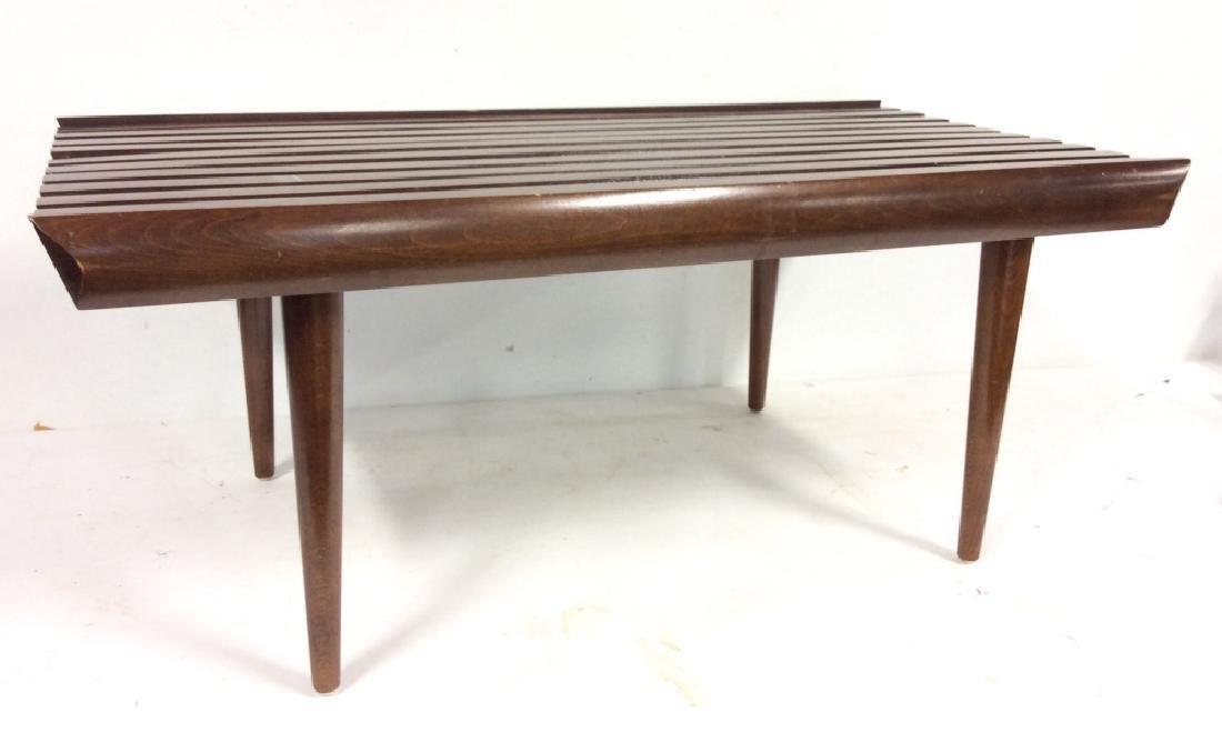 Vintage Mid Century Modern Slat Bench - 2
