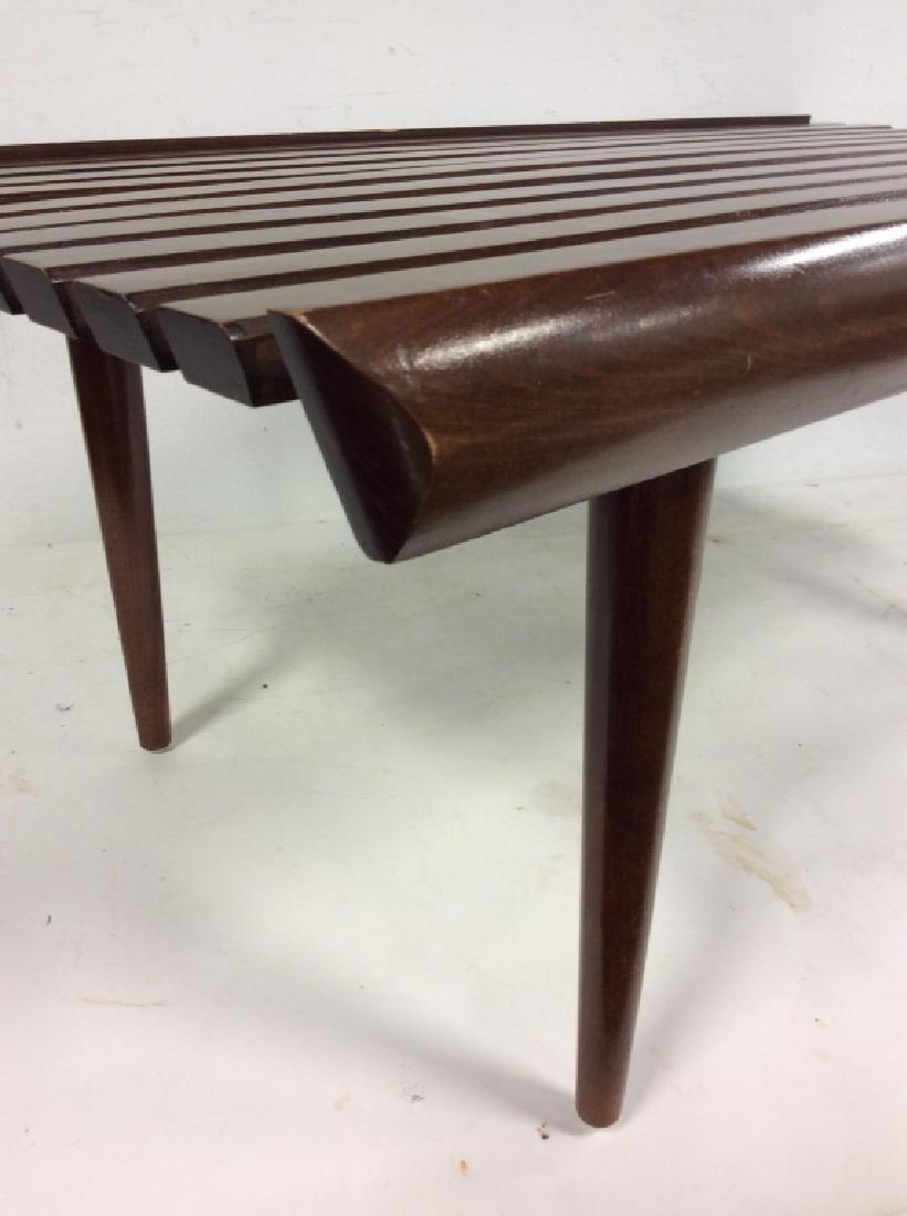 Vintage Mid Century Modern Slat Bench - 3