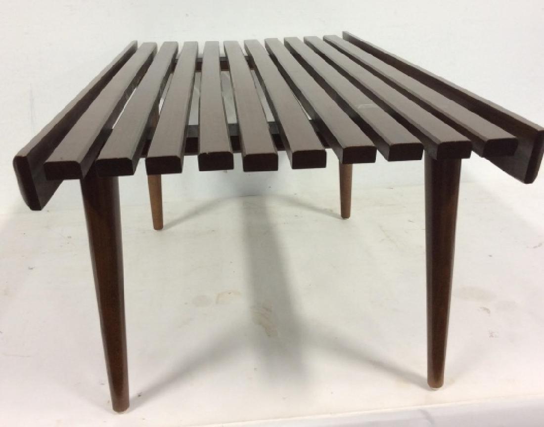 Vintage Mid Century Modern Slat Bench - 4