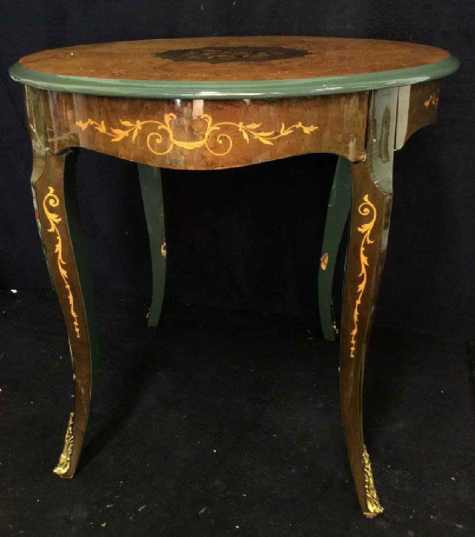 Vintage Wooden Inlay Floral Design End Table - 2