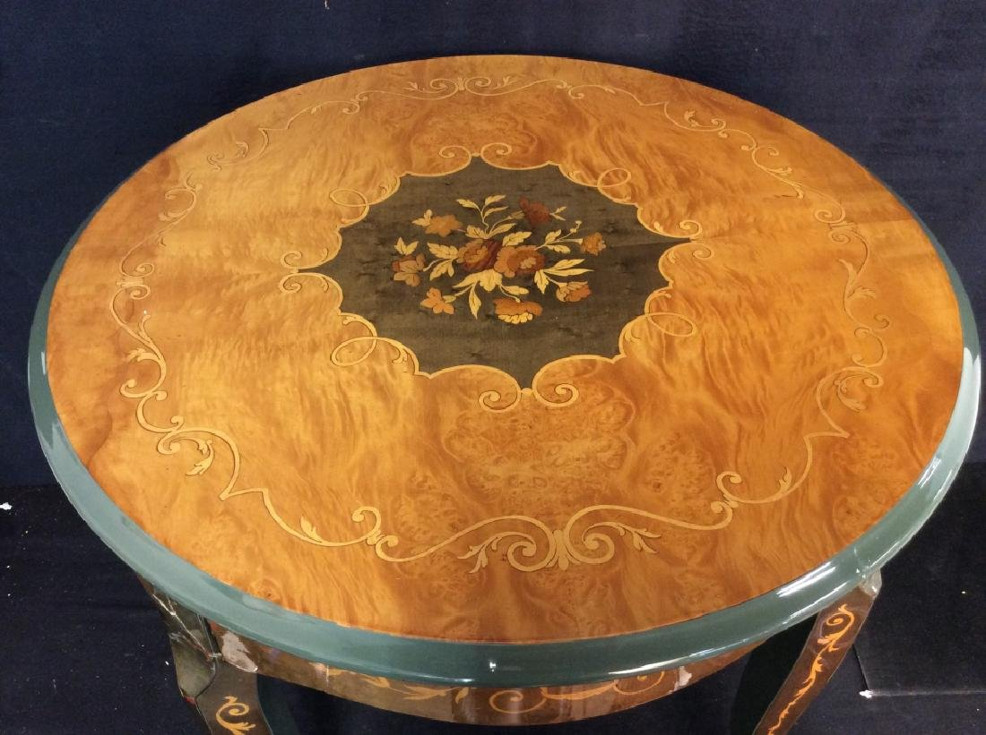 Vintage Wooden Inlay Floral Design End Table - 4