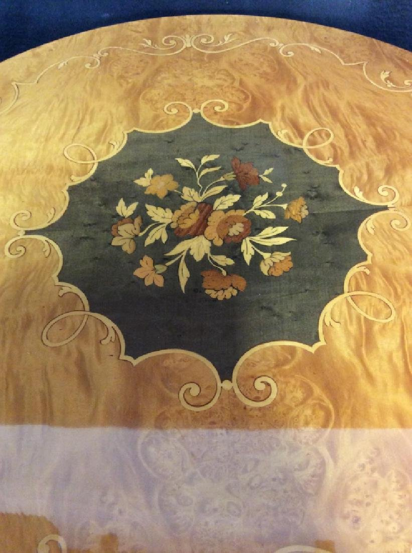 Vintage Wooden Inlay Floral Design End Table - 5