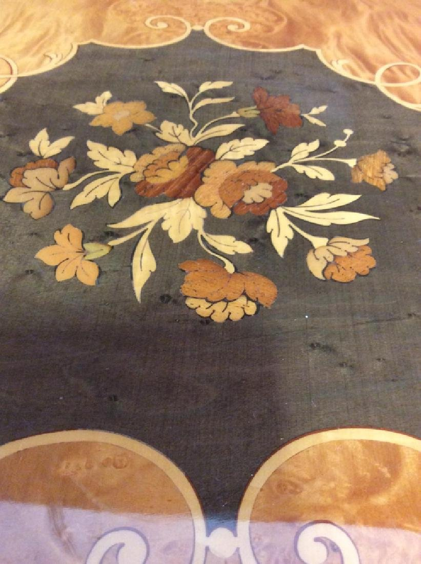 Vintage Wooden Inlay Floral Design End Table - 6