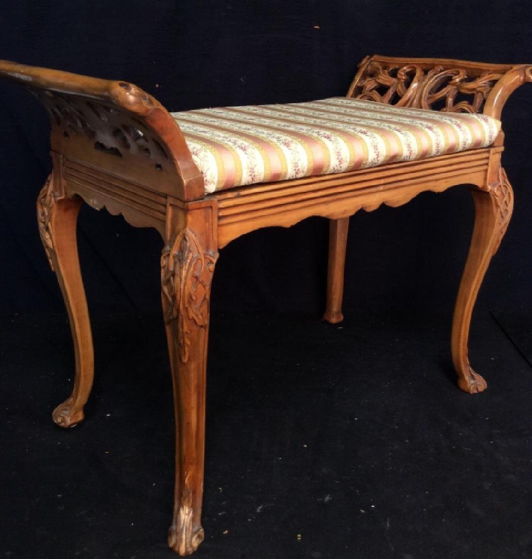 Vintage Carved Wooden Stool,Bench,Footrest - 3