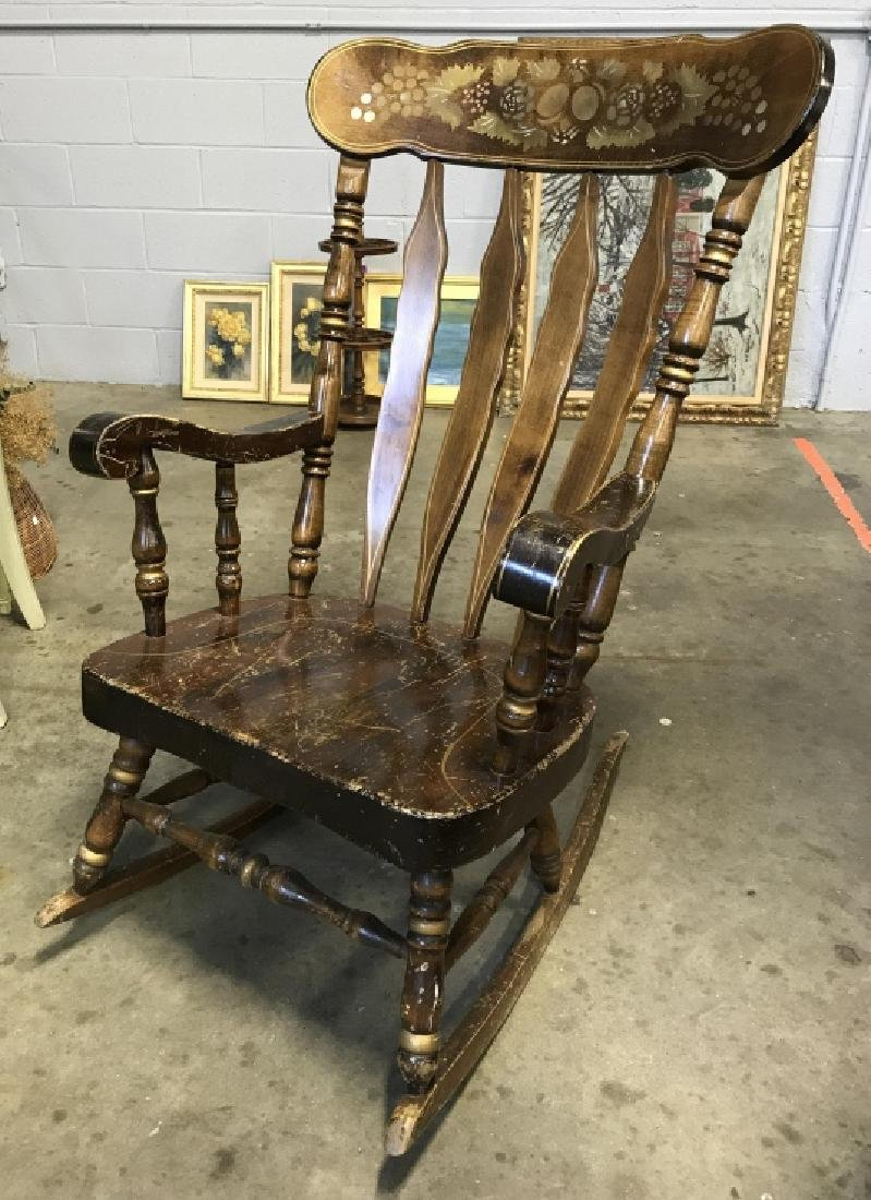 Vintage Rocking Chair With Stenciled Floral Motif