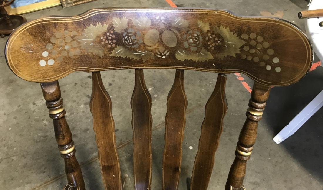 Vintage Rocking Chair With Stenciled Floral Motif - 2