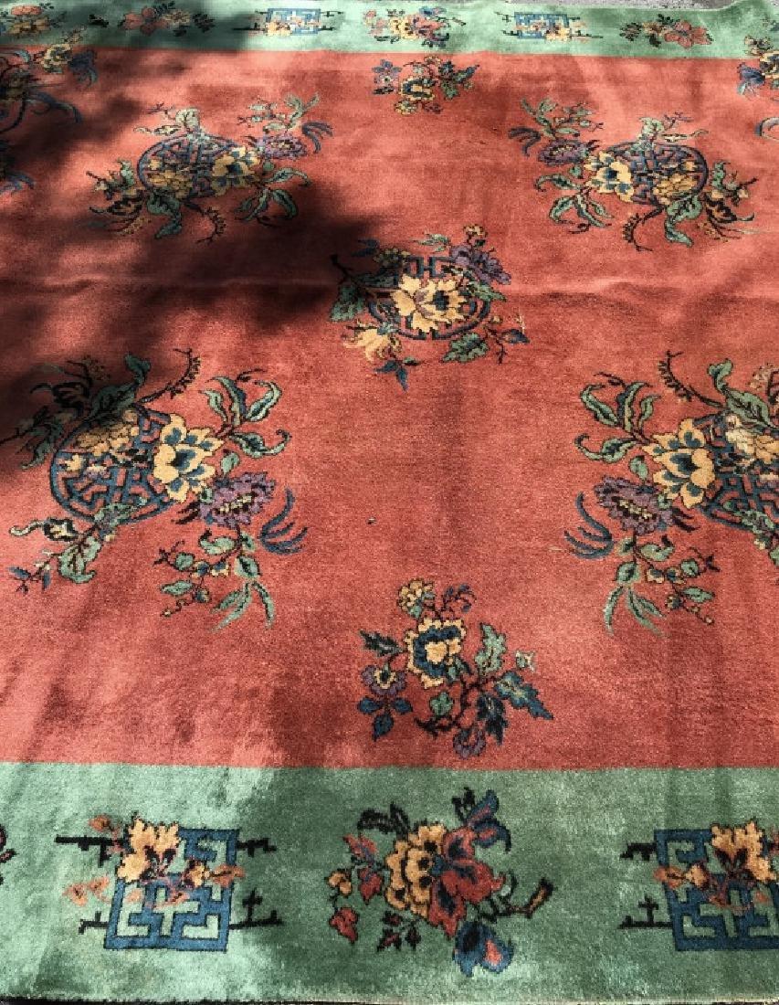 Vintage Handmade Chinese Art Deco Wool Rug